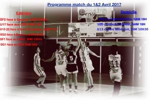 Programme de match du 1&2 Avril 2017
